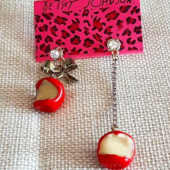 Betsey Johnson earrings, bitten apple